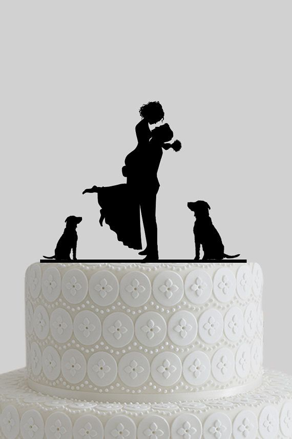 Custom Wedding Cake Toppers Mr And Mrs Topper Bride Groom Silhouette With Dogs Personalize Last Name Acrylic A619