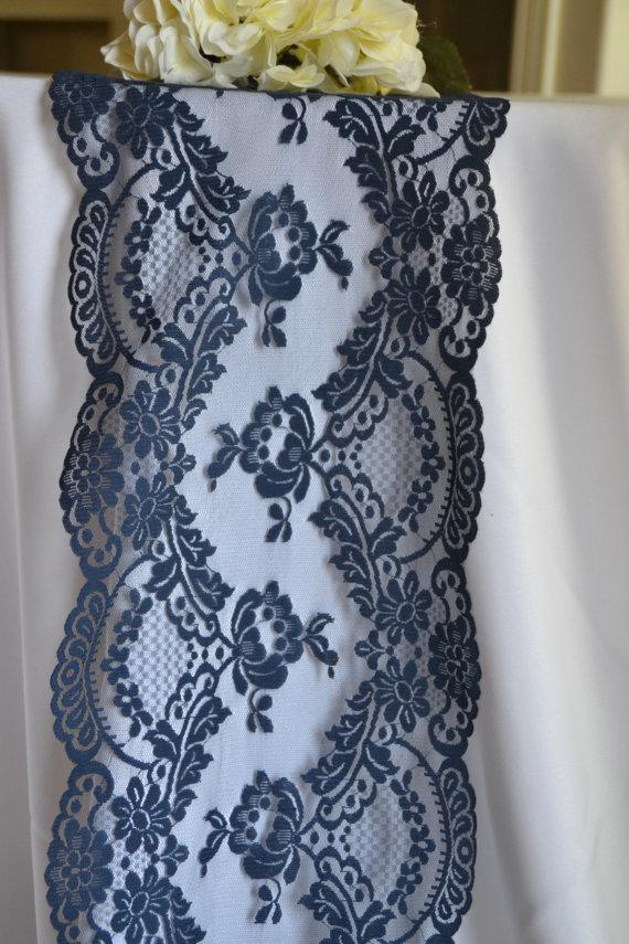 Navy lace 10 wide choose between 3ft 10ft wedding for 10 ft table runner