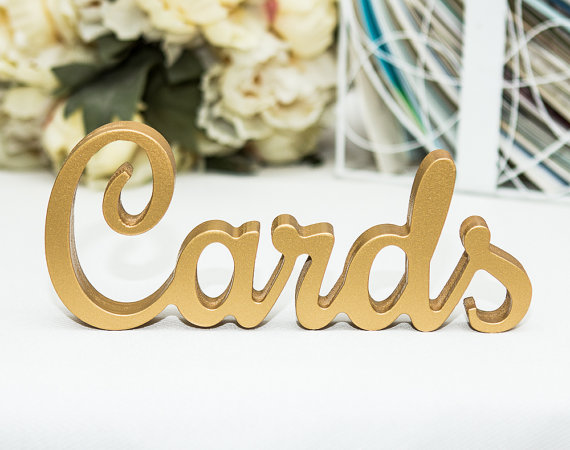 """Mariage - Cards Sign for Wedding Cards Table - Freestanding """"Cards"""" - Wooden Wedding Sign for Reception Decorations (Item - TCA100)"""