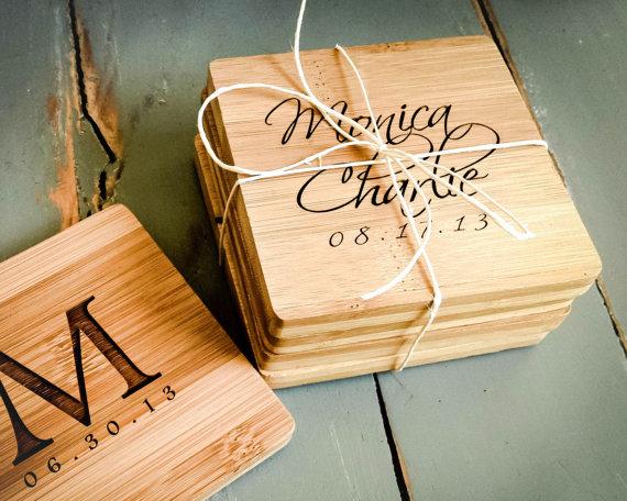 Personalized Coasters Wedding Gift: 4 Custom Engraved Bamboo Coasters, Personalized Coasters