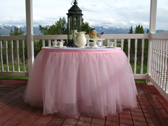 Свадьба - READY TO SHIP - 8FT. Pink Tulle Table Skirt, Tutu Tableskirt for Wedding, Birthday, Princess Party, Baby Shower