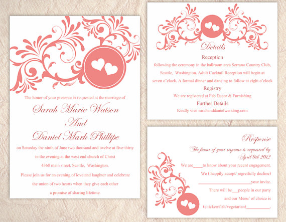 زفاف - DIY Wedding Invitation Template Set Editable Word File Instant Download Printable Invitation Red Wedding Invitation Heart Invitation