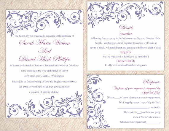Hochzeit - DIY Wedding Invitation Template Set Editable Word File Instant Download Purple Wedding Invitation Purple Invitations Printable Invitation