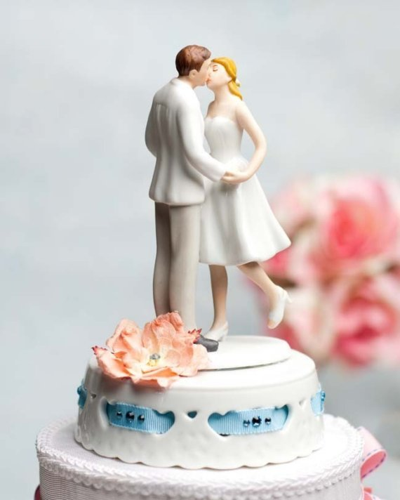 Wedding - Adorable Leg Pop Ribbon Accent Cake Topper - 104954