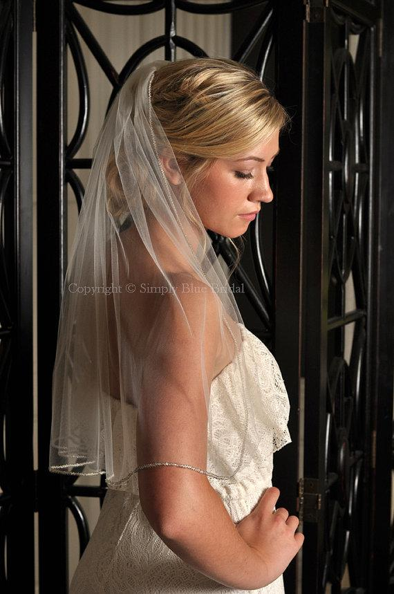 Mariage - Wedding Veil, Bead Veil, Veil with Beaded Edge - Ivory, Light Ivory, White, Diamond White, Champagne