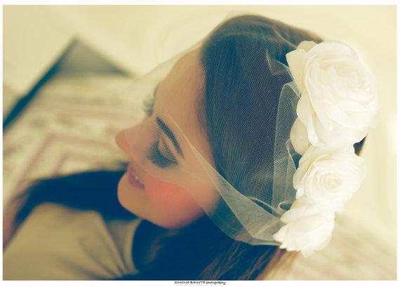 Свадьба - Bridal birdcage veil, Bandeau veil, Bridal blusher veil, Wedding veil, Tulle bandeau veil, Illusion tulle veil, Mini veil