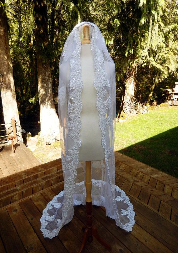 Свадьба - Handmade Couture OOAK Chapel Veil-Mantilla-Hand Embroidered Applique Pearl and Lace Bridal Veil-Scallop Edging-CRBoggs Original Design