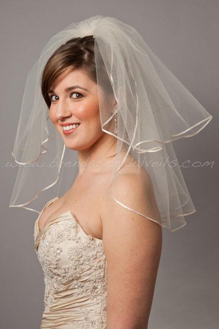 زفاف - Illusion Tulle Bridal Veil - Short Double Layer Ribbon Edge - White, Ivory, Champagne and Black