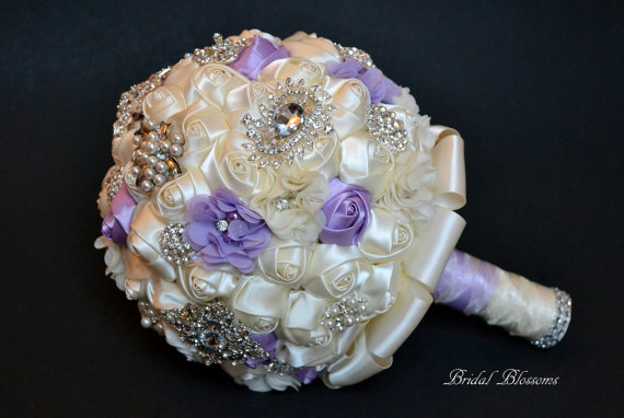 Mariage - Stunning Ivory & Lavender Fabric Flower Bridal Bouquet