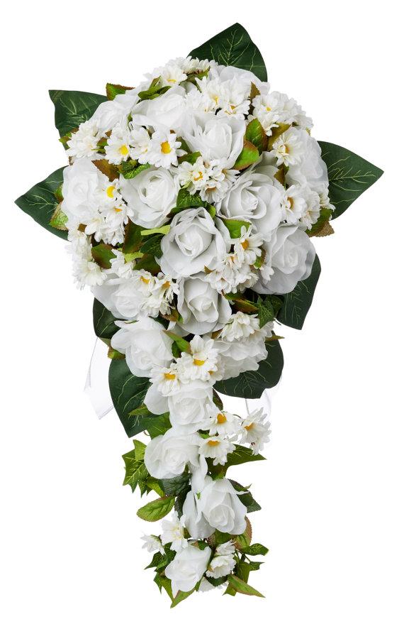 Свадьба - Daisy Silk Rose Cascade - Silk Bridal Wedding Bouquet
