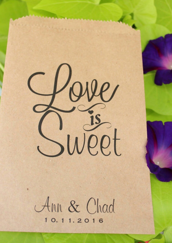 Wedding - Wedding Favor Bags- Candy Buffet-Personalized Treat Bags-Sweet Table-Love Is Sweet