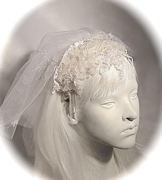 Mariage - Victorian Bridal Headpiece & Shoulder Length Veil Juliet Cap Wedding Veils OOAK