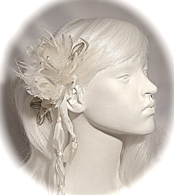 Mariage - Silk Bridal Hairpiece White Feather & Pearl Bridal Headpiece  OOAK