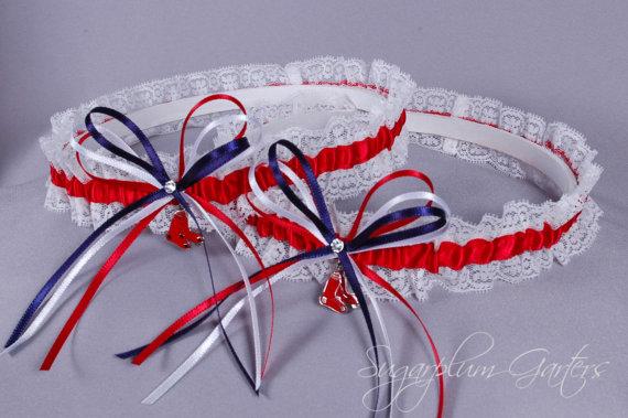 Свадьба - Boston Red Sox Lace Wedding Garter Set