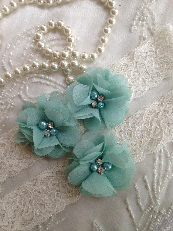 Свадьба - SALE-CUSTOM-Wedding Garter-Aqua-Navy-Chiffon-Shabby-Flower-Pearl-Rhinestone-garter belt-Rhinestone Garter-Vintage-Bridal Garter-Toss Garter
