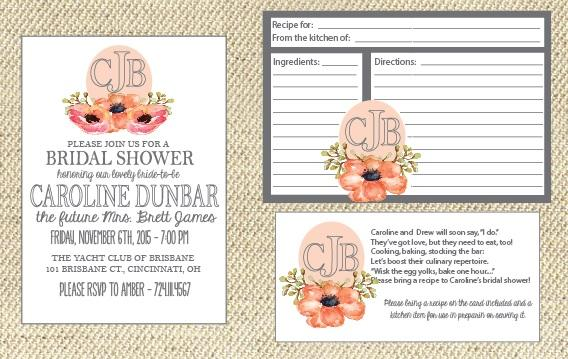 monogrammed bridal shower invitations