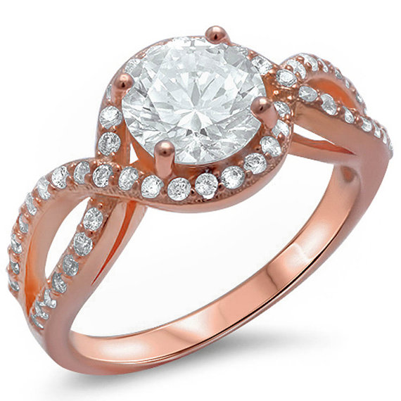 Halo Solitaire Accent Wedding Engagement Ring Pink Rose Gold Solid Sterling S