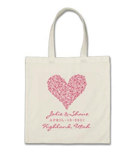 Mariage - Wedding Welcome or Destination Wedding Tote Bag - Sweet Heart Personalzed Tote Bag in Fuchsia