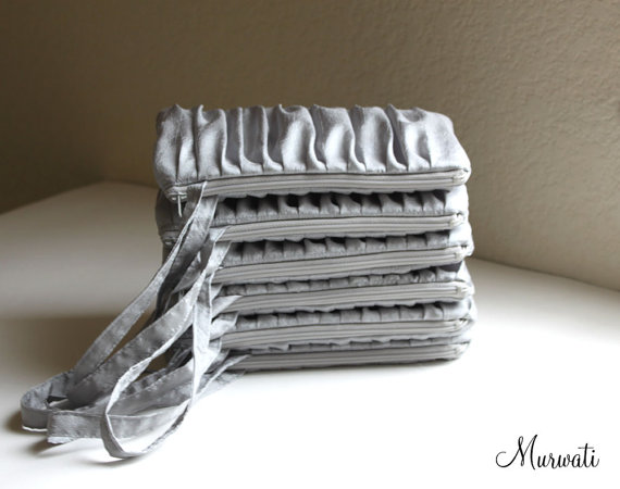 Mariage - Ruche Clutch Solid Wristlets- SET OF 13- Bridesmaids Gift- Silver Gray Red Royal Turquoise Blue  Navy and Many More