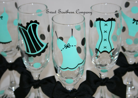 Wedding - 9 Personalized Bachelorette Party Champagne Flutes, Perfect for the Bride to Be