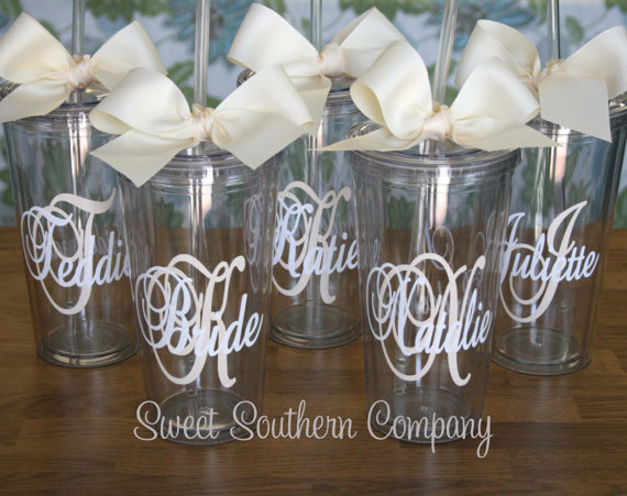 Mariage - 7 Personalized 20 oz. Bride and Bridesmaid Acrylic Tumblers