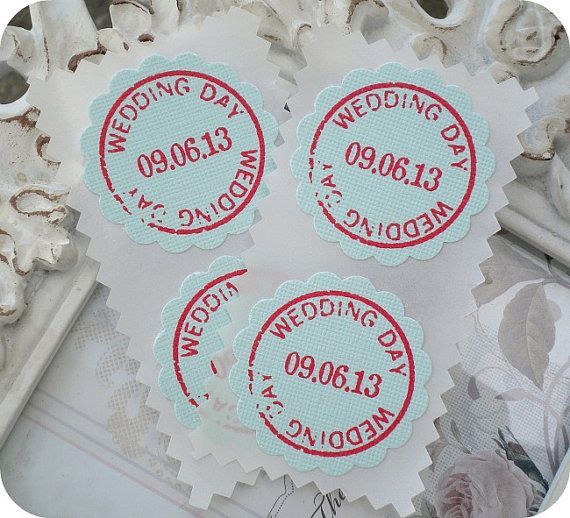 Hochzeit - Personalized Wedding Day Stickers / Envelope Seals - Vintage - Rustic - Cottage Chic - Set Of 20 - Save The Date - Any Color