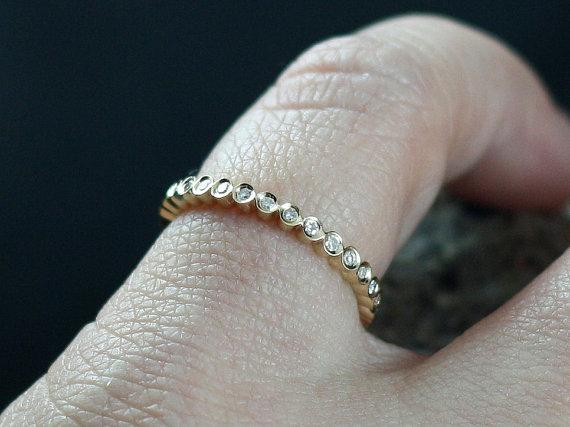 زفاف - Engagement Ring Ferarelle Diamonds Eternity Bubble Circle Bezel Band with Smooth Edge Custom SizeWhite-Yellow-Rose Gold-10k-14k-18k-Platinum
