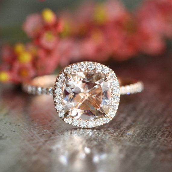 Wedding - Halo Diamond Morganite Engagement Ring in 14k Rose Gold Pave Diamond Wedding Band 8x8mm Cushion Cut Gemstone Ring (Wedding Set Available)
