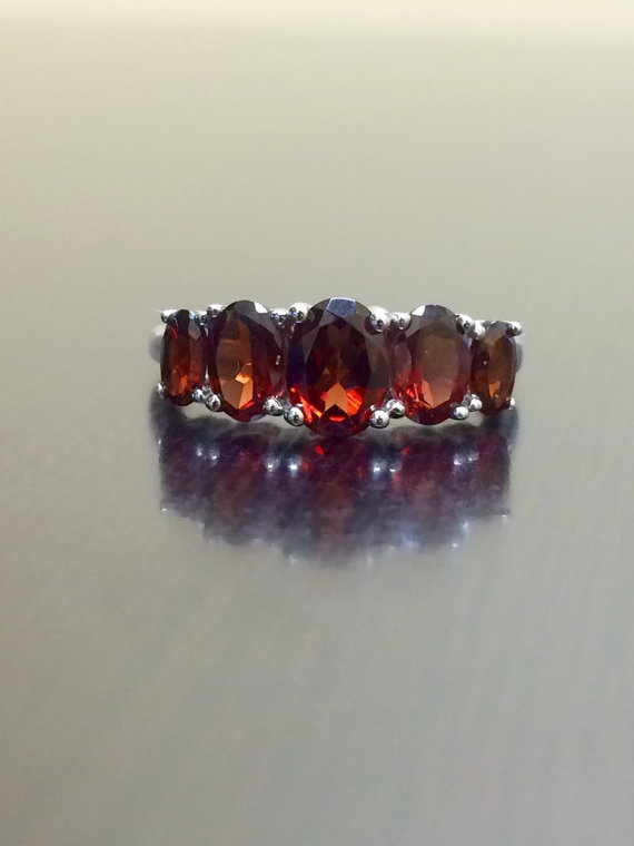 sterling silver garnet engagement ring garnet wedding ring 5 stone garnet ring oval garnet ring garnet ring silver garnet ring - Garnet Wedding Ring