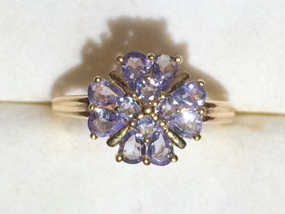 Vintage Tanzanite Cluster Ring Set In 14k Yellow Gold 12 Stone