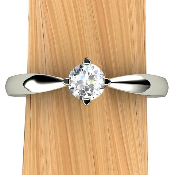 زفاف - Affordable Diamond Engagement Ring, Solitaire with 14k Recycled Gold Pinched Band - Free Gift Wrapping