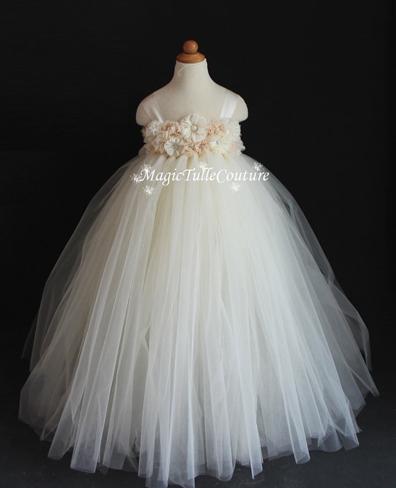 Mariage - Crystal and Rhinestone Mixed Ivory and Blush Flower Girl Tutu Dress Tulle Dress Toddler Dress