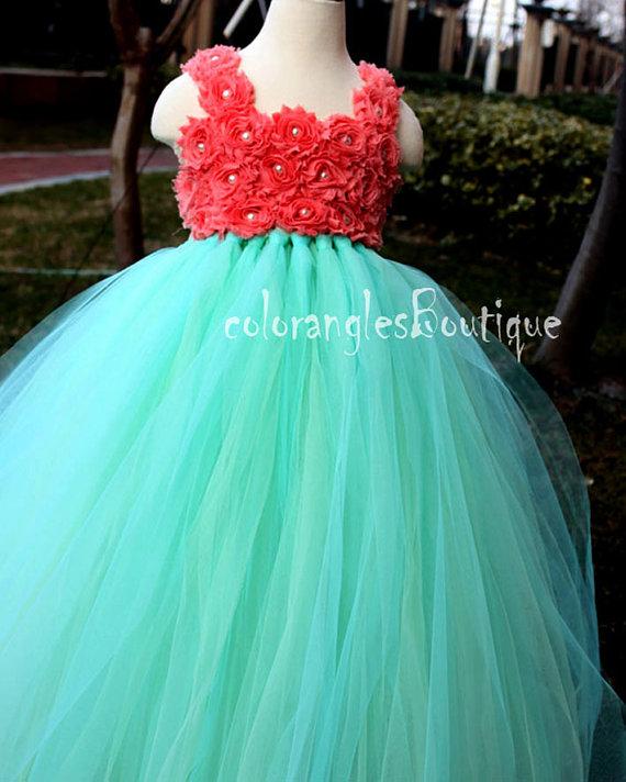 Tutu Flower Girl Dress Mint Coral Flower Girl Dress Baby Dress ...