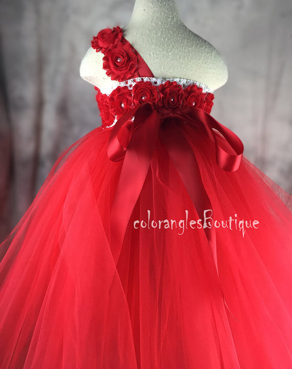 Wedding - Tutu Flower Girl Dress Red flower girl dress baby dress toddler birthday dress wedding dress 0-8t