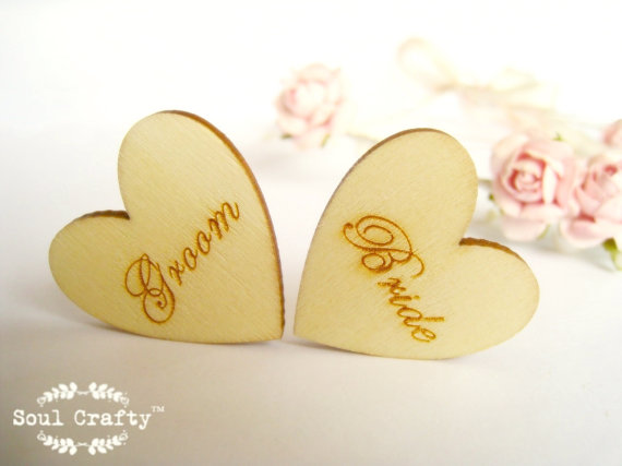 Hochzeit - Bride Groom 3cm Engraved Wooden Hearts Confetti Wedding Decoration Bridal Shower Pack of 20 / 50 / 80 / 100