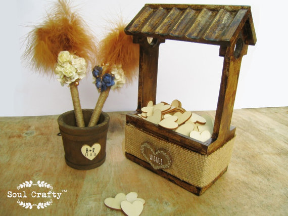 wishing well pail wedding guest s cards or advice wishes