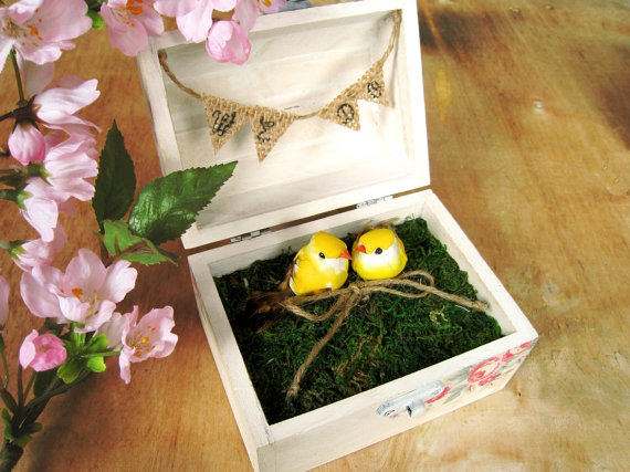 Wedding - Love Bird Ring Bearer Box White Shabby Chic Cottage Chic Wooden box Rustic Barn Woodland Spring Wedding decor gift idea LIMITED EDITION