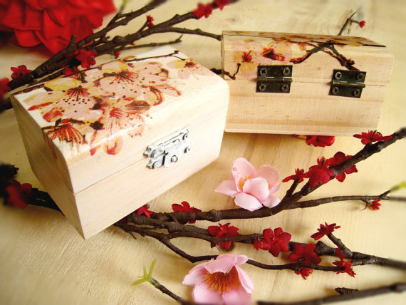 Personalized Small Sakura Wooden Box Cherry Blossom Ring Bearer Gift Fascinating Decorating Wooden Boxes