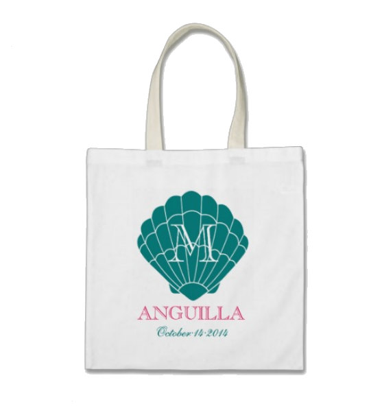 Mariage - Bridesmaid Beach Gift or Wedding Welcome Tote Bag - Monogram Seashell Tote Bag in Tide Teal/Hot Pink