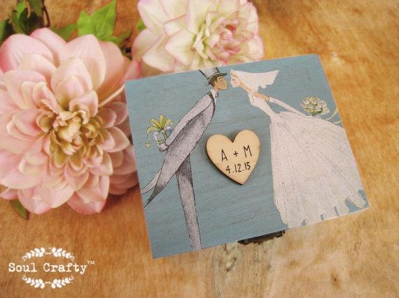 Wedding - Blue Ring Bearer Box Rustic Wedding Woodland Wooden box Gift box Wedding decor gift idea