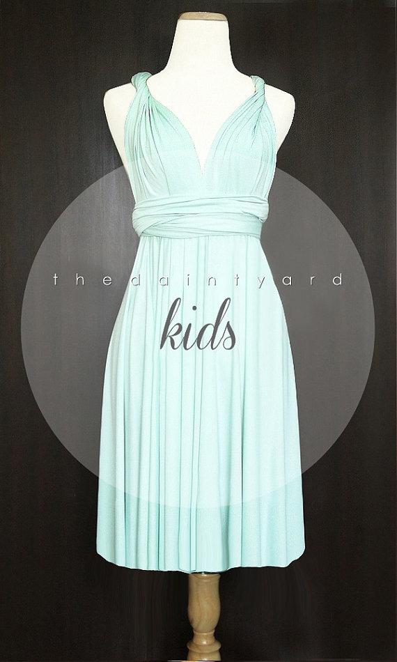 Kids mint bridesmaid convertible dress infinity dress for Light green wedding dress