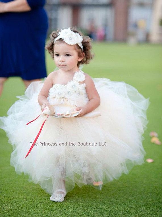 Свадьба - Ivory flower girl dress, ivory flower girl dresses, champagne flower girl dress, ivory tutu dress, champagne tutu dress, birthday dress