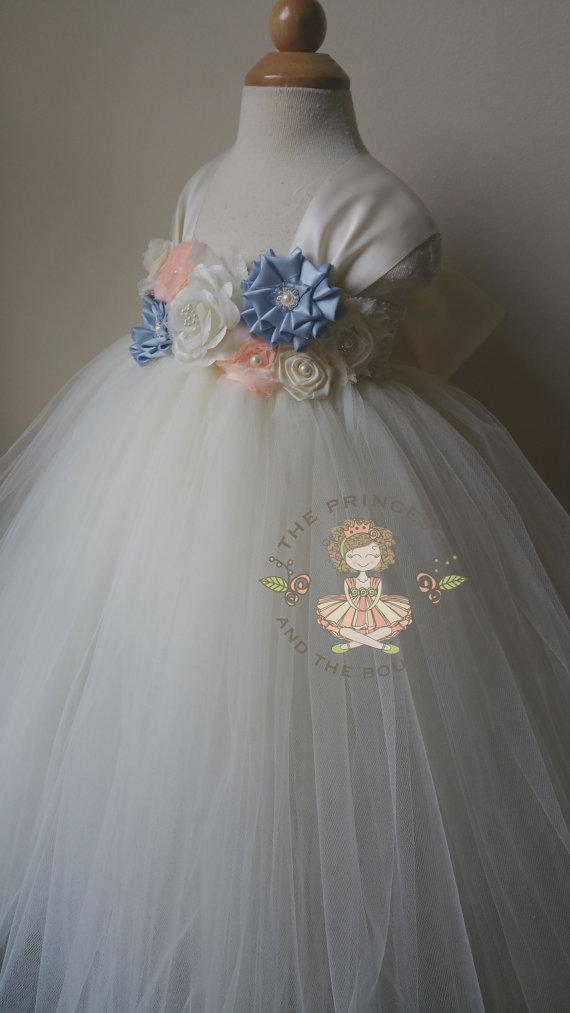 Mariage - blue flower girl dress, blue tutu dress, flower girl dress peach, peach tutu dress, flower girl dress ivory, baby dress, child dress,