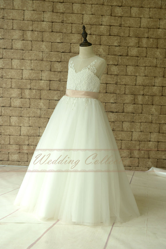 Mariage - Ivory Lace Flower Girl Dress Floor Length With Blush Waistband