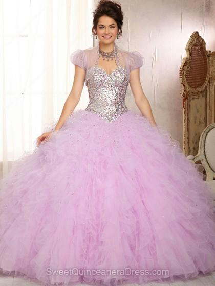 Mariage - Ball Gown Sweetheart Tulle Satin Sweep Train Beading Quinceanera Dresses