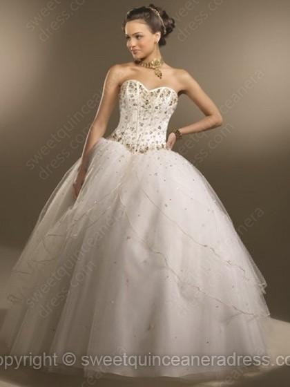 94c1258fa4b5a Sweetheart Ball Gown Satin Tulle Floor-length Beading Quinceanera Dresses