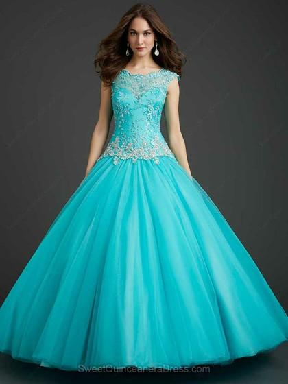 Mariage - A-line Scalloped Tulle Satin Floor-length Beading Quinceanera Dresses