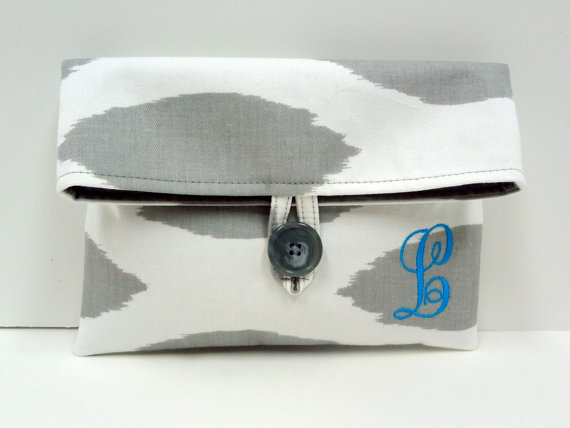 Mariage - Ikat Clutch Monogrammed Wedding Clutch Gray and Turquoise