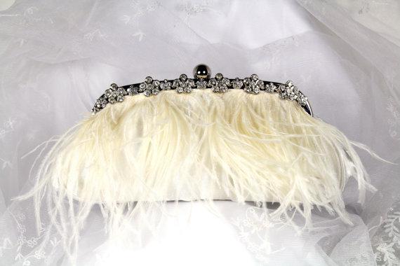 Hochzeit - Ostrich Feather Bridal Clutch Purse,  Ivory Feather Clutch, Satin Wedding Clutch, Feather Wedding Purse with Rhinestone Trim