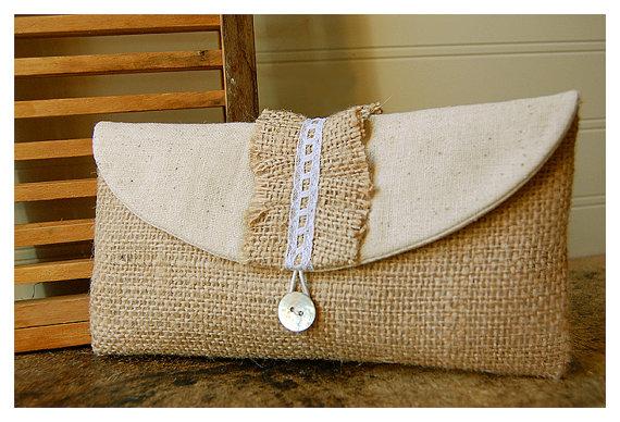 Свадьба - bridesmaid gift burlap lace clutch purse lace ruffles rustic wedding shabby chic purse Personalize Bridesmaid gift bridesmaid cosmetic bag